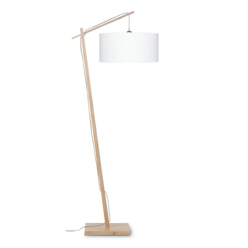 Lampe sur pied en bambou et abat-jour lin écologique ANDES (naturel, blanc) - image 44464