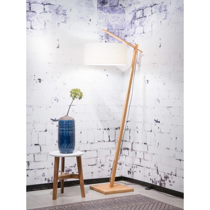 Lampe sur pied en bambou et abat-jour lin écologique ANDES (naturel, blanc) - image 44465