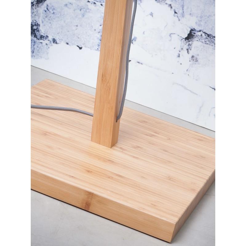 Lampe sur pied en bambou et abat-jour lin écologique ANDES (naturel, blanc) - image 44466