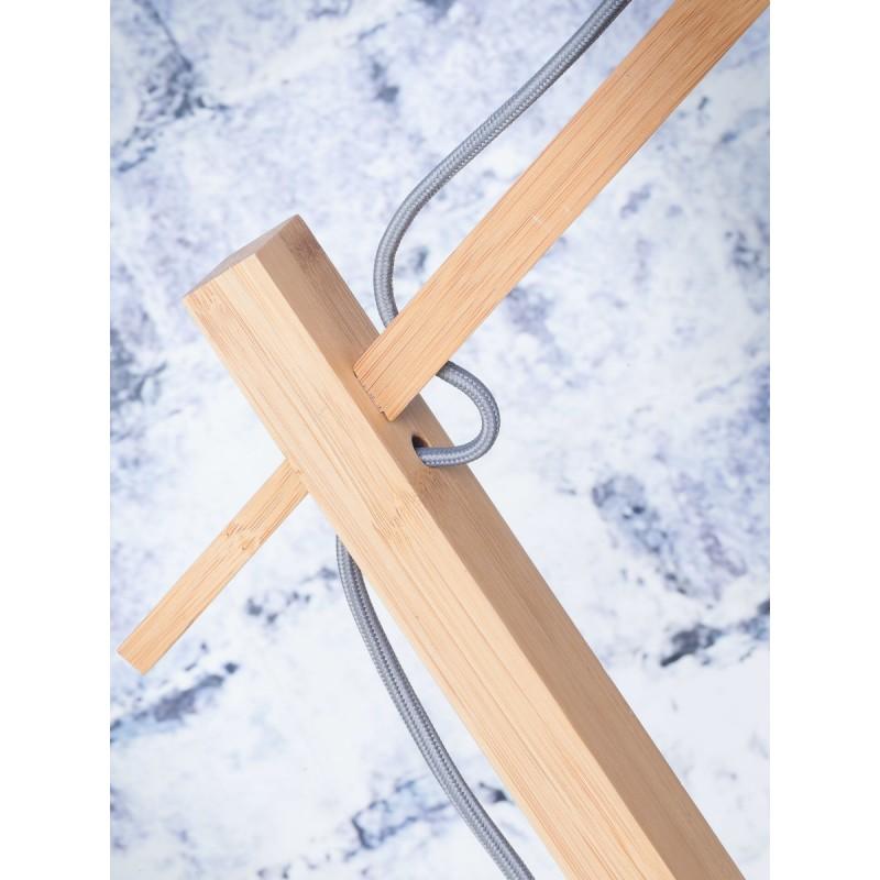 Lampe sur pied en bambou et abat-jour lin écologique ANDES (naturel, blanc) - image 44467