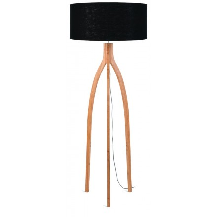 Bamboo standing lamp and annaPURNA eco-friendly linen lampshade (natural, black)