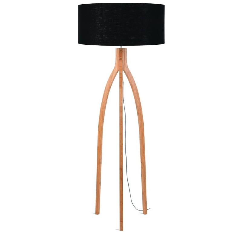 Lampe sur pied en bambou et abat-jour lin écologique ANNAPURNA (naturel, noir) - image 44470