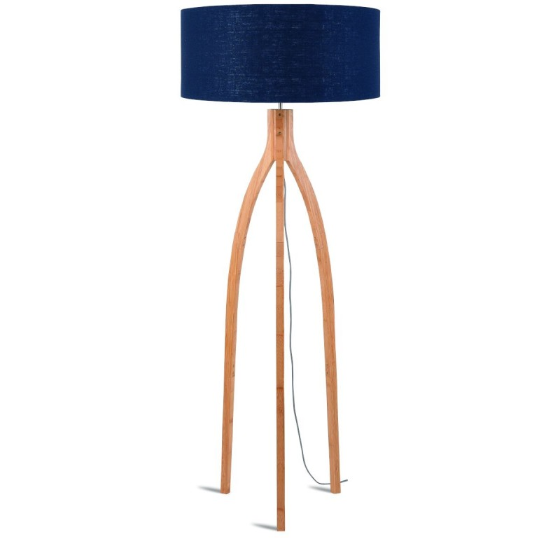 Bamboo standing lamp and annaPURNA eco-friendly linen lampshade (natural, blue jeans) - image 44475