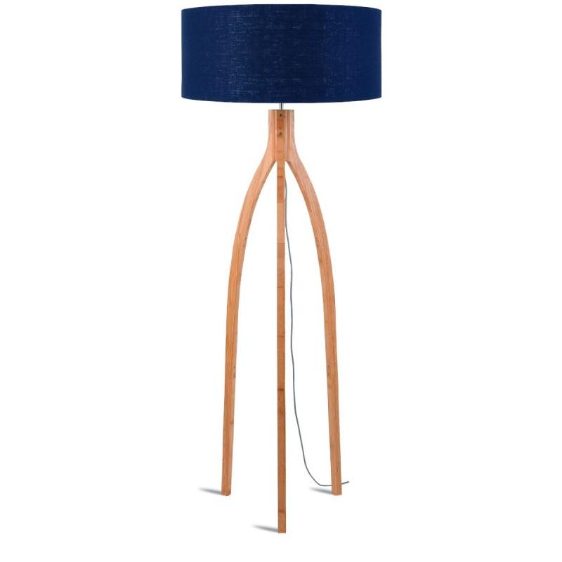 Lampe sur pied en bambou et abat-jour lin écologique ANNAPURNA (naturel, bleu jeans) - image 44475
