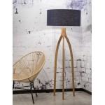 Lampe sur pied en bambou et abat-jour lin écologique ANNAPURNA (naturel, bleu jeans)