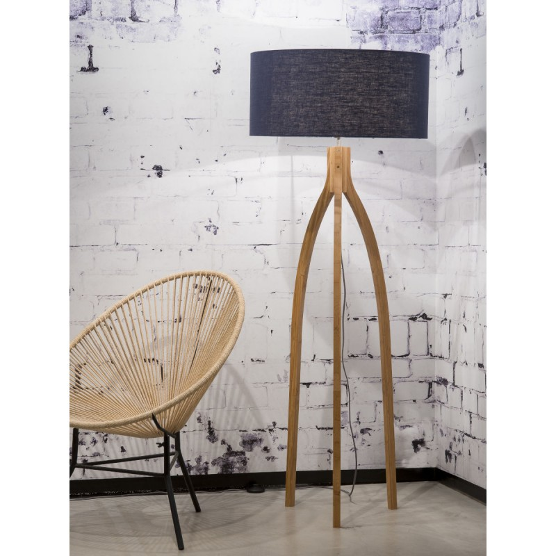 Bamboo standing lamp and annaPURNA eco-friendly linen lampshade (natural, blue jeans) - image 44476