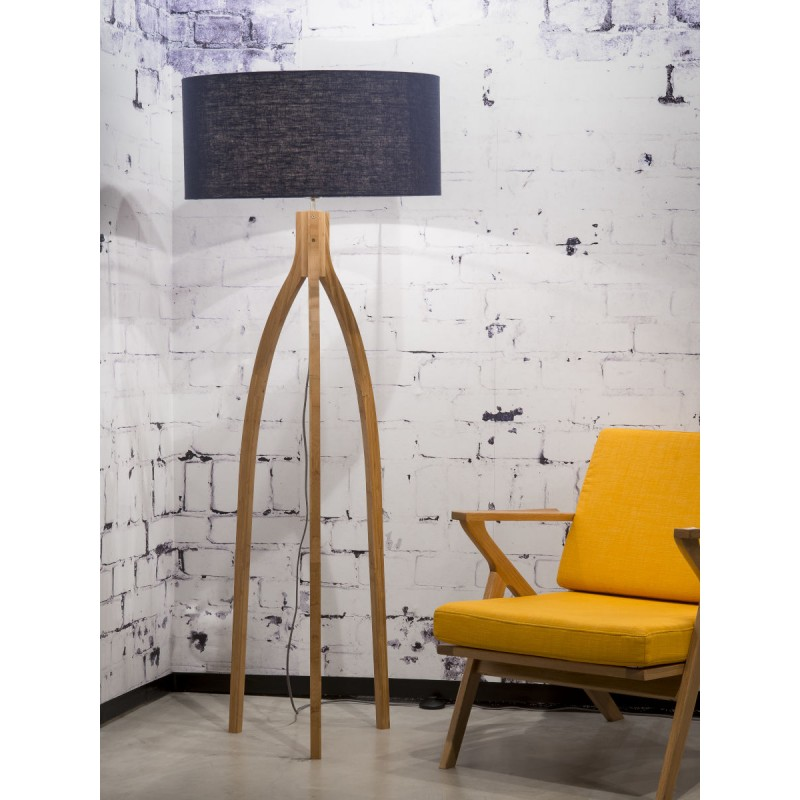 Bamboo standing lamp and annaPURNA eco-friendly linen lampshade (natural, blue jeans) - image 44477