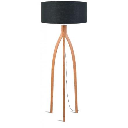 Bambus Stehlampe und annaPURNA umweltfreundliche Leinen Lampenschirm (natürlich, dunkelgrau)