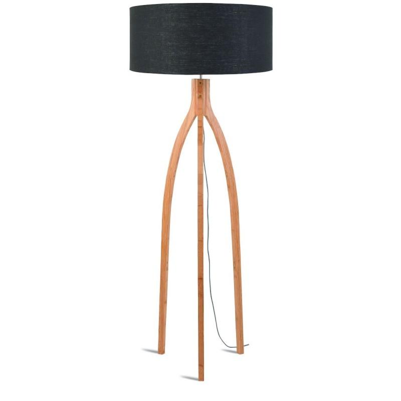 Bamboo standing lamp and annaPURNA eco-friendly linen lampshade (natural, dark grey) - image 44481