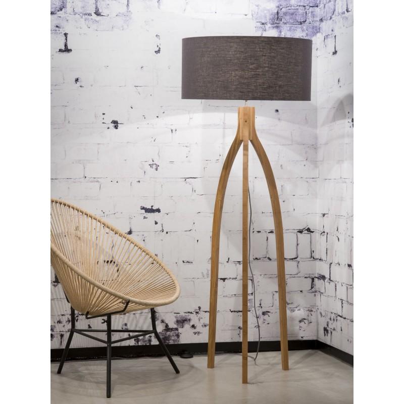 Bamboo standing lamp and annaPURNA eco-friendly linen lampshade (natural, dark grey) - image 44482