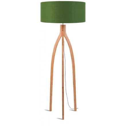 Lampe sur pied en bambou et abat-jour lin écologique ANNAPURNA (naturel, vert foncé)