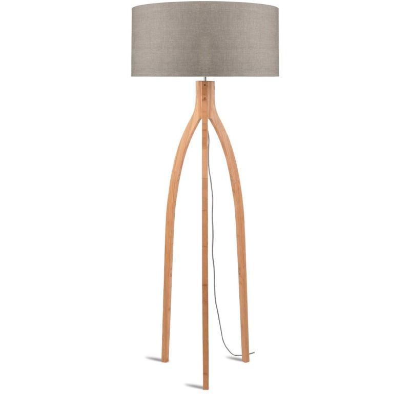 Lampe sur pied en bambou et abat-jour lin écologique ANNAPURNA (naturel, lin foncé)