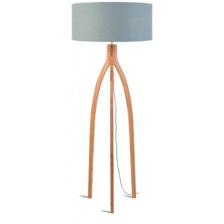Lampada in legno in piedi e paralume di lino eco-friendly ANNAPURNA (naturale, grigio chiaro)