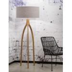 Lampe sur pied en bambou et abat-jour lin écologique ANNAPURNA (naturel, gris clair)