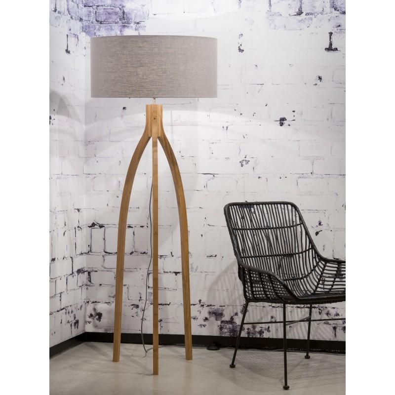 Lampe sur pied en bambou et abat-jour lin écologique ANNAPURNA (naturel, gris clair) - image 44500