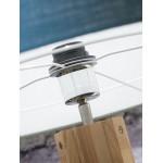 Bambus Stehlampe und ANNAPURNA umweltfreundliche Leinen Lampenschirm (natürlich, hellgrau)