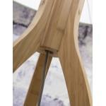 Lámpara de pie de bambú y pantalla de lino ecológica ANNAPURNA (natural, gris claro)