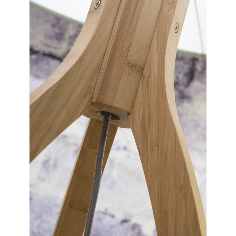 Lámpara de pie de bambú y pantalla de lino ecológica ANNAPURNA (natural, gris claro) - image 44503