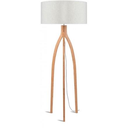 Lampe sur pied en bambou et abat-jour lin écologique ANNAPURNA (naturel, lin clair)