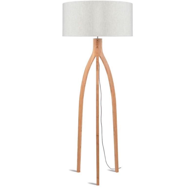 Lámpara de pie de bambú y pantalla de lino ecológica annaPURNA (natural, lino ligero) - image 44504