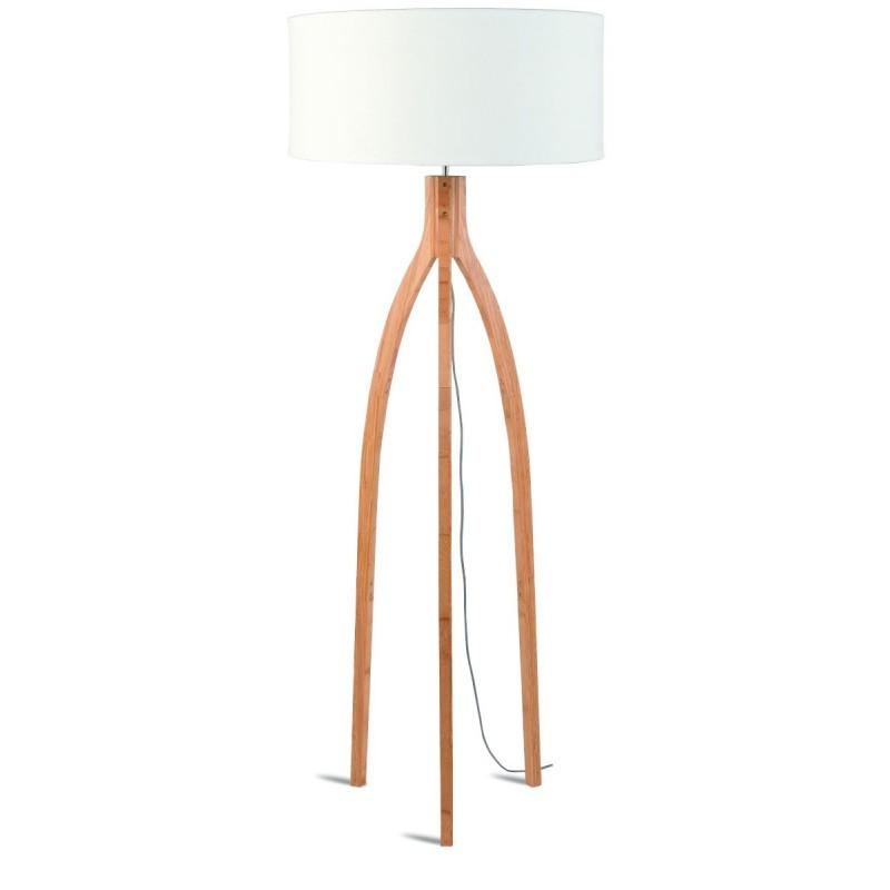 Lampe sur pied en bambou et abat-jour lin écologique ANNAPURNA (naturel, blanc) - image 44509