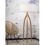 Lámpara de pie de bambú y pantalla de lino ecológica annaPURNA (natural, blanca)