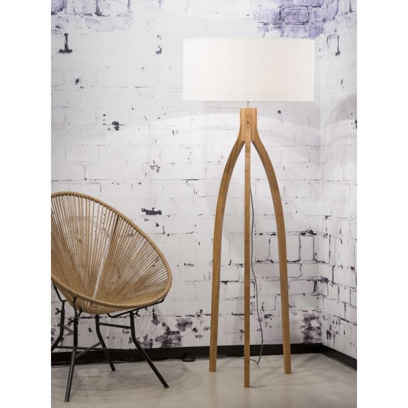 Lampe sur pied en bambou et abat-jour lin écologique ANNAPURNA (naturel, blanc) - image 44510