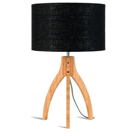 Lámpara de mesa de bambú y lámpara de lino ecológica annaPURNA (natural, negro)