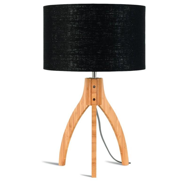Bambus Tischleuchte und annaPURNA umweltfreundliche Leinenlampe (natürlich, schwarz) - image 44515
