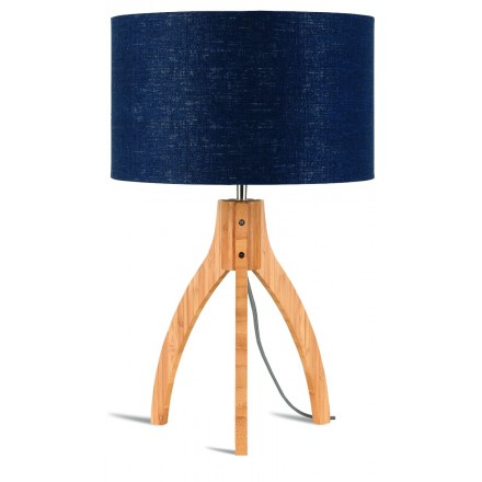 Bamboo table lamp and annaPURNA eco-friendly linen lampshade (natural, blue jeans)