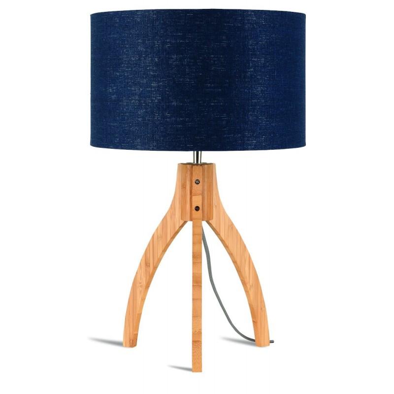 Bambus Tischlampe und annaPURNA umweltfreundlichlen Leinen Lampenschirm (natürliche, blaue Jeans)