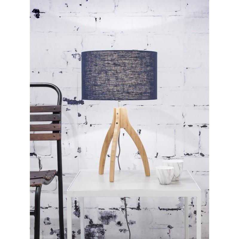Lampe de table en bambou et abat-jour lin écologique ANNAPURNA (naturel, bleu jeans) - image 44519