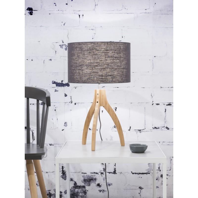 Lampe de table en bambou et abat-jour lin écologique ANNAPURNA (naturel, bleu jeans) - image 44521