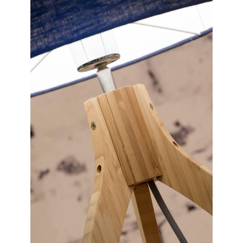 Lámpara de mesa de bambú y pantalla de lino ecológica annaPURNA (jeans naturales y azules) - image 44522