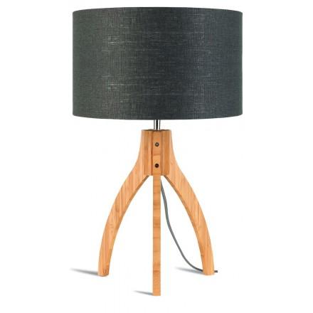 Lampe de table en bambou et abat-jour lin écologique ANNAPURNA (naturel, gris foncé)