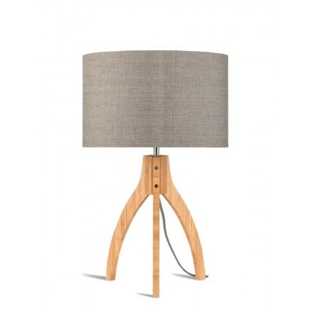 Bambus Tischleuchte und annaPURNA umweltfreundliche Leinenlampe (natürliche, dunkle Bettwäsche)