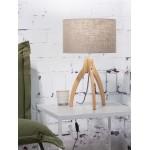 Lámpara de mesa de bambú y lámpara de lino ecológica annaPURNA (natural, lino oscuro)