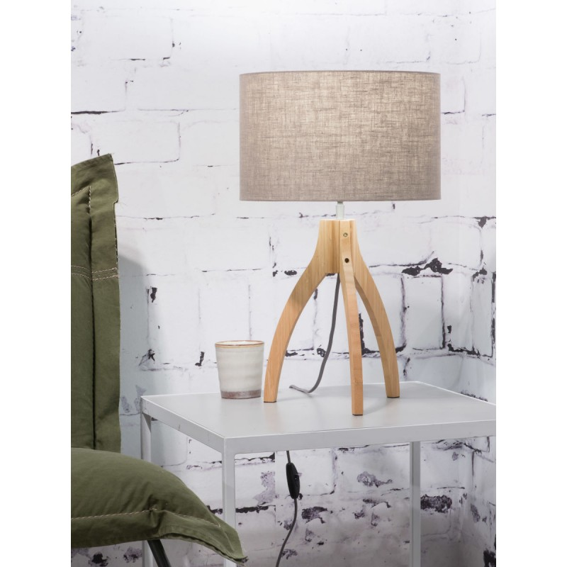 Lampe de table en bambou et abat-jour lin écologique ANNAPURNA (naturel, lin foncé) - image 44531