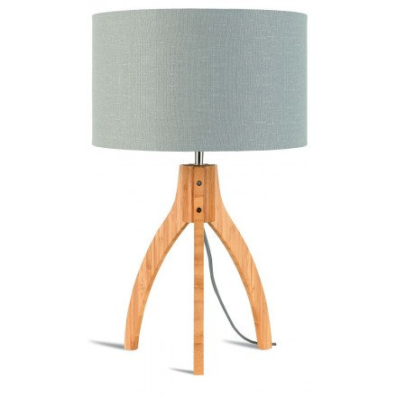 Bamboo table lamp and annaPURNA eco-friendly linen lamp (natural, light grey)