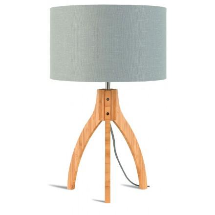 Bambus Tischleuchte und annaPURNA umweltfreundliche Leinenlampe (natürlich, hellgrau)