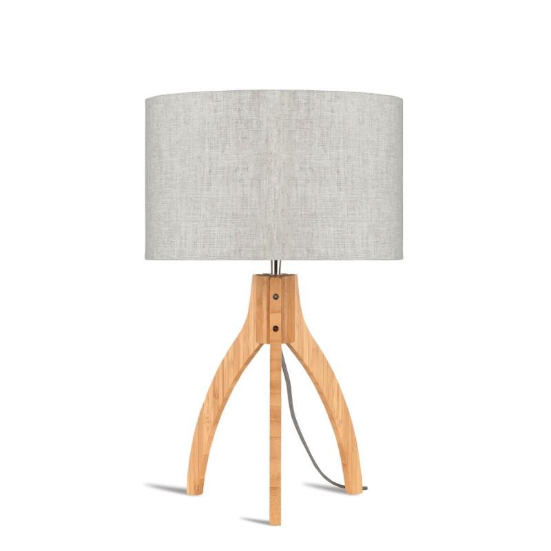 Lampe de table en bambou et abat-jour lin écologique ANNAPURNA (naturel, lin clair)
