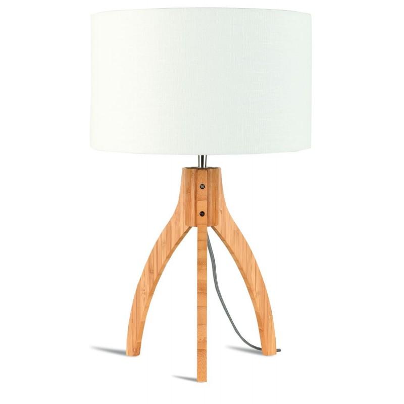 Bambus Tischleuchte und annaPURNA umweltfreundliche Leinenlampe (natürlich, weiß)