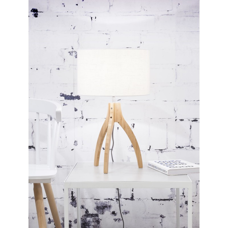 Lámpara de mesa de bambú y lámpara de lino ecológica annaPURNA (natural, blanca) - image 44540