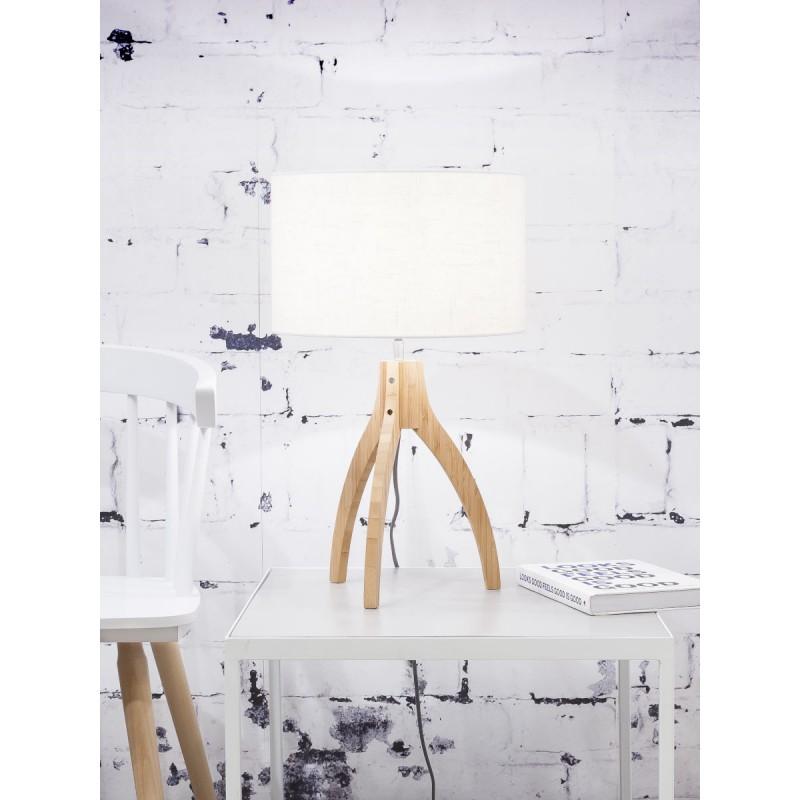Lampe de table en bambou et abat-jour lin écologique ANNAPURNA (naturel, blanc) - image 44540