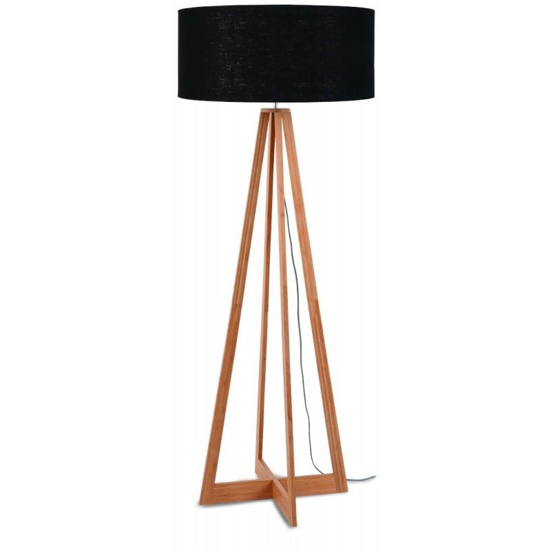 EverEST (natural, negro) lámpara de pie de bambú y pantalla de lino ecológico