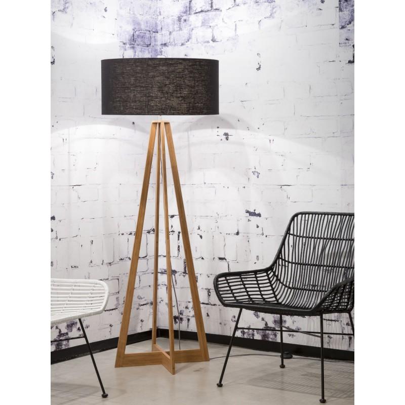 EverEST (naturale, nero) lampada in piedi di bambù e paralume di lino ecologico - image 44543