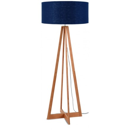 EverEST bamboo standing lamp and green linen lampshade (natural, blue jeans)