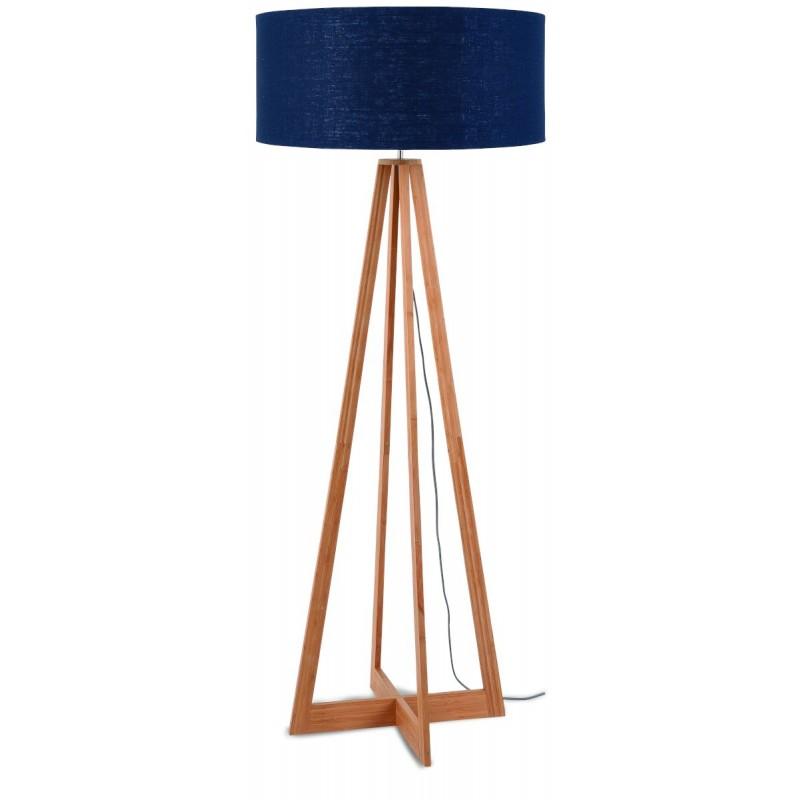 Lampe sur pied en bambou et abat-jour lin écologique EVEREST (naturel, bleu jeans)