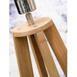 EverEST lampada in piedi di bambù e paralume di lino verde (naturale, blue jeans)