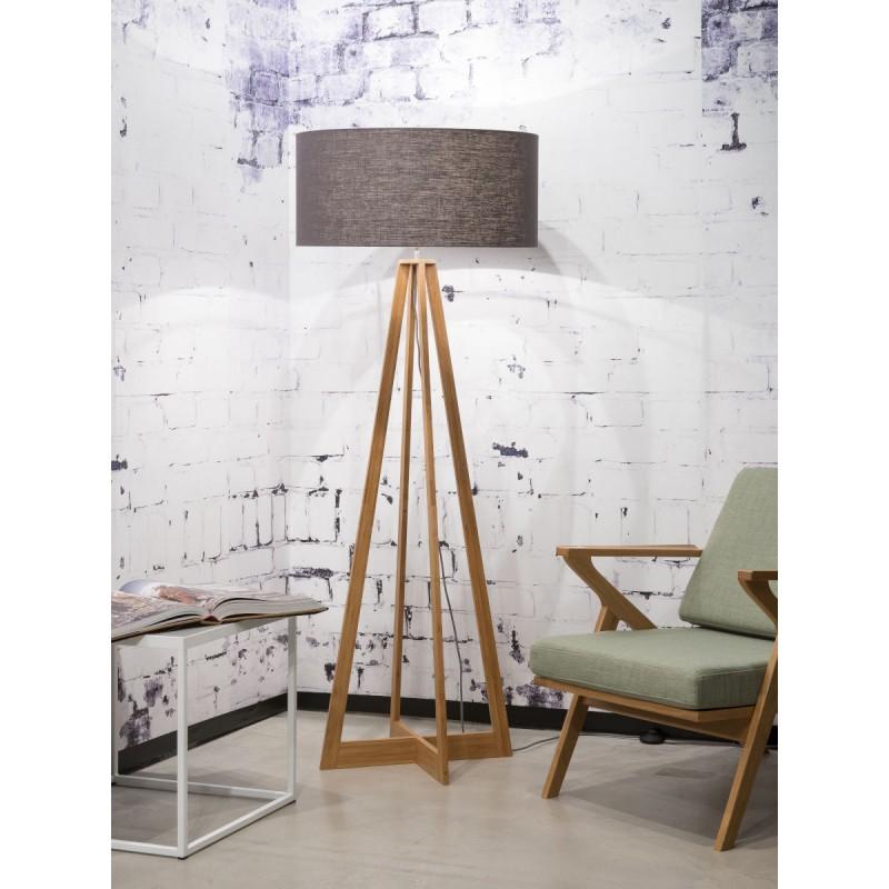 Lampe sur pied en bambou et abat-jour lin écologique EVEREST (naturel, gris foncé) - image 44555